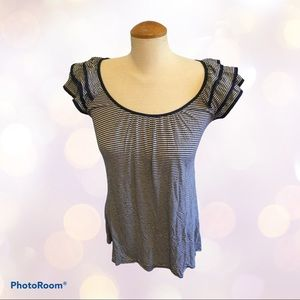 H&M Navy Blue Striped T-shirt with Ruffled Sleeves